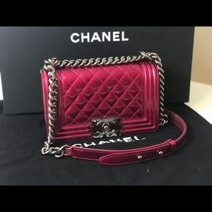 Authentic Chanel metallic pink small boy bag purse